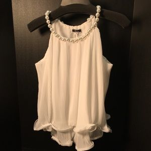 Vivid Fun Top with Large Pearl Neckline